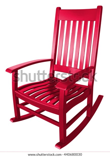 Hot red rocking chair facing left empty alone isolated on porch