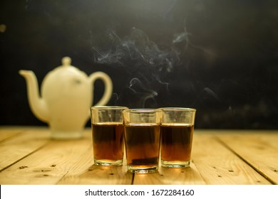 Hot Red Tea with Smoke