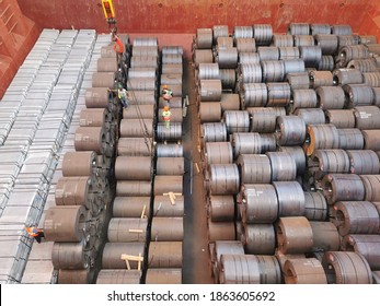 hot rolled coil or steel coils loaded in cargo hold of a bulk carrier or cargo ship. - Shutterstock ID 1863605692