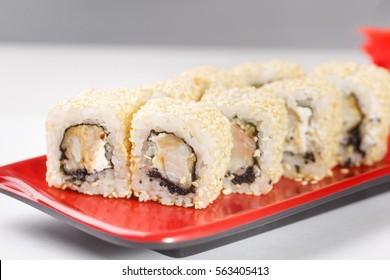 hot rolls Nori fish sushi rolls frying rice cheese Philadelphia California salmon