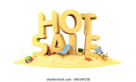 HOT SALE - words of sand. 3d illustration