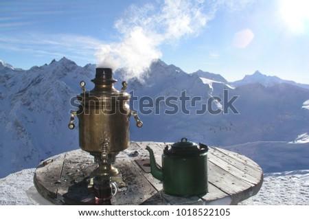 Hot samovar and teapot