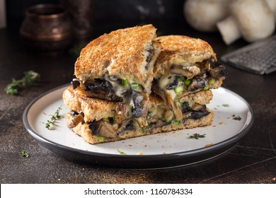 Hot sandwich with mushrooms, cheese and green onions, delicious lunch, autumn food. On dark background