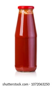 hot sauce in glass bottle with red cap isolated on white background. With clipping path