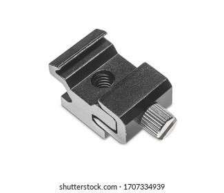 Hot Shoe Cold Shoe Flash Holder Bracket. Hotshoe Coldshoe for Off Camera Flash Photography Photographic Hot Shoe for Studio Speedlights Clipping Work Path included in JPEG Isolated on white Background