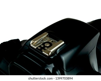 hot shoe on modern digital single-lens reflex mirrorless camera, contact for external flash connection