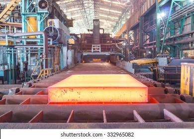 Hot slab are rolling in table, Hot slab view, Colorful of hot slab, Industry steel background.