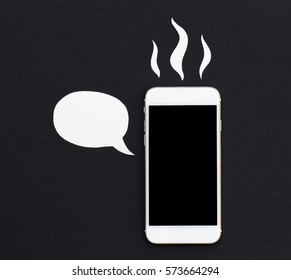 Hot Smartphone With Cartoon Text Bubble White Phone In Paper Cut Collage Creative Cellphone