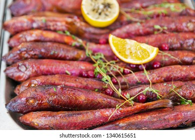 hot smoked red mullet closeup background