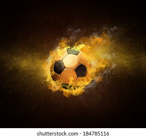 Hot soccer ball in fires flame
