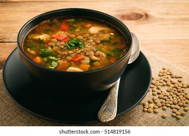 Hot soup with green lentil, chicken, vegetables and spices.