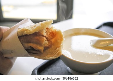 hot soy milk and fried bread stick, Taiwanese breakfast
