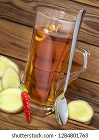 Hot spiced tea with ginger and chili