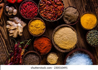 Hot spices in bowls, oriental theme