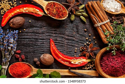 Hot spices and herb placed on the table