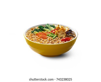 Hot and spicy Curry Instant Noodle Soup with vegetables