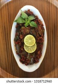 hot spicy eggplant close up view or TERONG BALADO