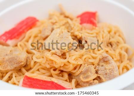 Hot Spicy Instant Noodle Pork Surimi Stock Photo (Edit Now