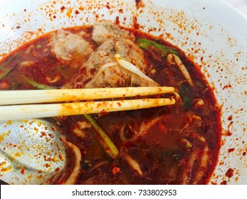 Hot and spicy noodle ,close up shot