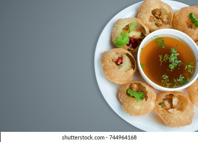 hot and spicy panipuri specially made in india picture taken in indoor food photography for restaurant
