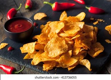 Hot Spicy Sriracha Potato Chips Ready to Eat