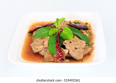Hot spicy thai traditional cuisine meat salad