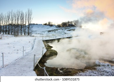 hot spring bath in the scret lagoon, iceland
