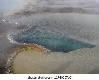 Hot spring on a cold day - Yellowstone National Park, USA, in winter