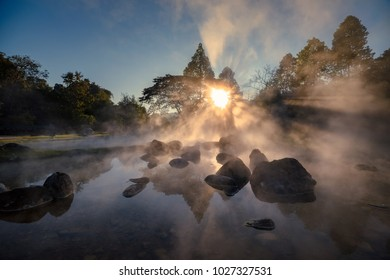 hot spring and sun beam in morning sunrise