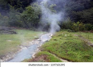 Hot spring valley in Caucasus mountains, Georgia