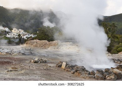 Hot spring waters in Furnas, Sao Miguel. Azores. Portugal. Vertical