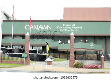Hot Springs, AR/USA: April 1, 2018 –Entrance to historic Oaklawn Park Racetrack and Casino, home of the Arkansas Derby, and the debut venue for 2015 Triple Crown winner American Pharoah.