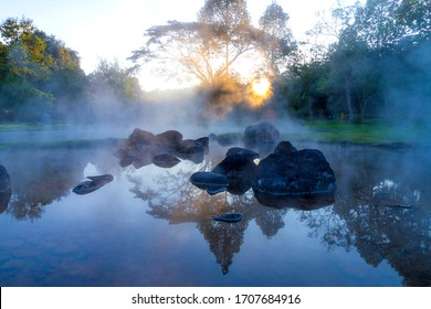 Hot springs and fog beautiful with sunlight the morning at Chae Son National Park  Mueang Pan district, Lampang province Thailand