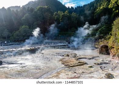 Hot springs, Furnas, Sao Miguel Island, Azores, Portugal.