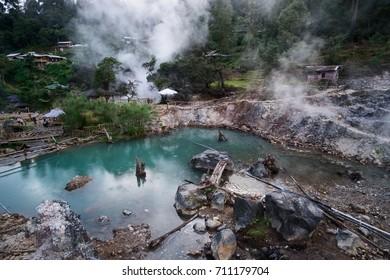 Hot Springs inside crater of volcano, Kawah Cibuni (Rengganis), Ciwidey, Bandung, Indonesia