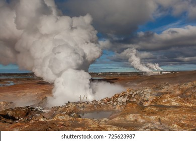 Hot springs located at geothermal area at Reykjanes peninsula in Iceland.