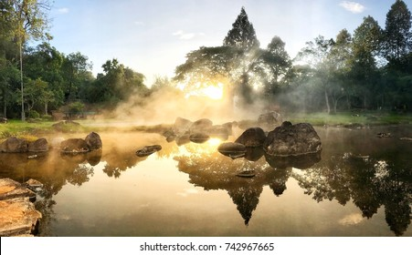 Hot Springs In National Park And Natural Mineral Water.