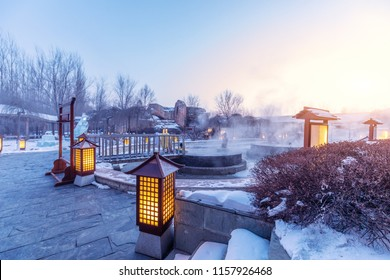 hot springs outdoor in jilin at night