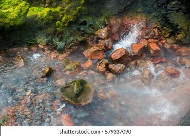 Hot springs at Raudfeldargja, Iceland