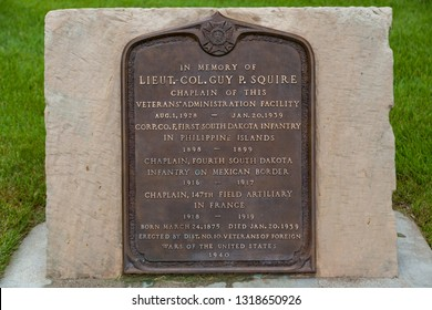HOT SPRINGS, SOUTH DAKOTA - June 8, 2014:  A metal sign memorializing the life of Lieutenant Colonel Guy P Squire in the Hot Springs National Cemetery in Hot Springs, SD on June 8, 2014.