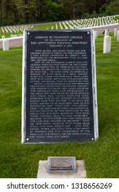 HOT SPRINGS, SOUTH DAKOTA - June 8, 2014:  A large plaque reciting the Gettysburg Address by President Lincoln at the Hot Springs National Cemetery in Hot Springs, SD on June 8, 2014.