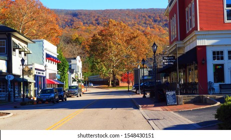Hot Springs, Virginia / USA - November 11, 2019: An autumn view of the main street of the Allegheny Mountain town of Hot Springs, Virginia.