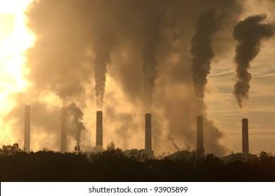 Hot steam from big chimney .