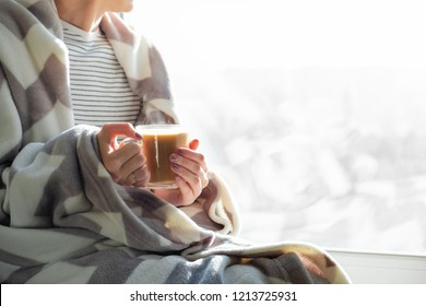 Hot steaming drink in woman's hands. Female covered in throw blanket sits by the window with cup of hot cocoa