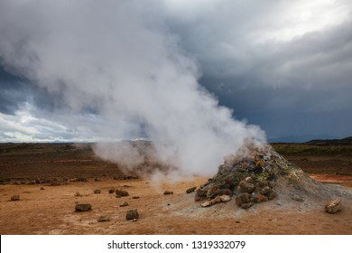 Hot steaming mud volcano or mud dome at Námafjall Hverir geothermal area in Mývatn region, Northeastern Iceland, Scandinavia