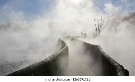 Hot steaming pool at Kuirau Park, New Zealand's only geothermal public park