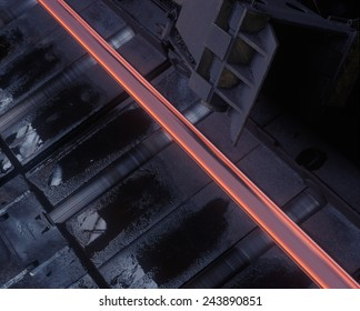 Hot steel being processed