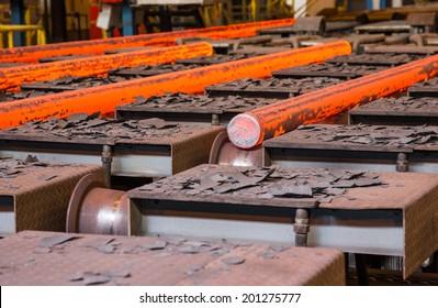 hot steel on conveyor on ���° plant
