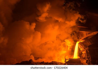 Hot steel pouring in steel plant