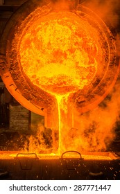 Hot steel pouring at steel plant